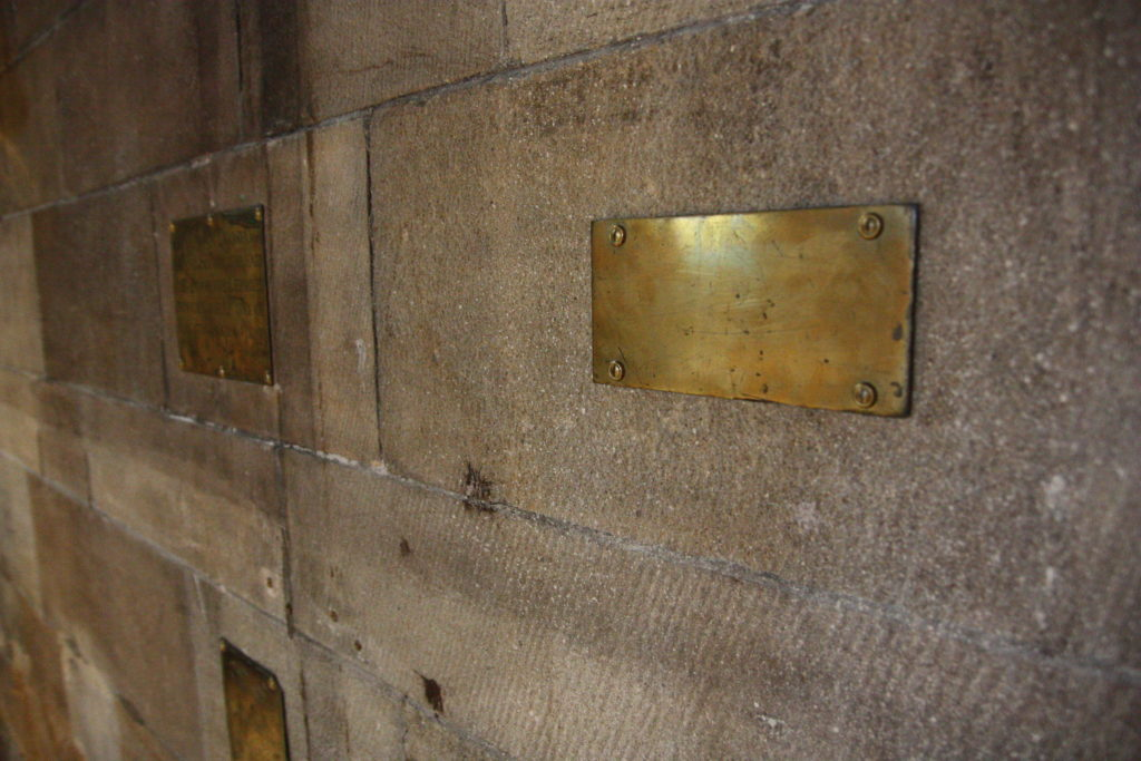 Brass plaque with no writing visible