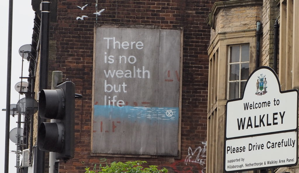 Street art saying There is no wealth but life